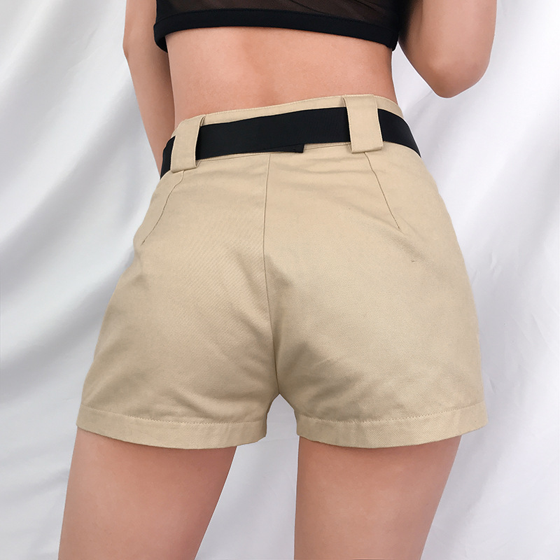 HTB1t4d.bzzuK1RjSspeq6ziHVXaH - Spring Summer High Waist Shorts With Buckle Ribbon Khaki Korean Street Style Cotton Short Feminino Cargo Shorts