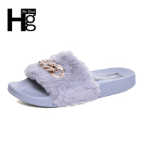 HEE GRAND Indoor Fur Slippers 2017 Warm Platform Shoes Woman Slip On Soft Flat With Casual