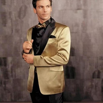 Gold Wedding Suits With Black Lapel Men Tuxedos Slim Fit Prom Party Suits Cheap Groomsman Suit Custom Made(Jacket+Pant)