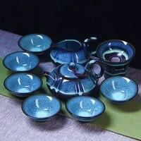 Free shipping 10pcs in one set Kung fu tea set Jingdezhen built red glaze kiln tea set, Chinese traditional sets gift packaging