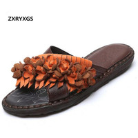 b3ba68af1f 2019 New Comfortable Soft Summer Women Shoes Sandals Fashion Slippers  Flowers Flat Slippers Chinese Style Personality