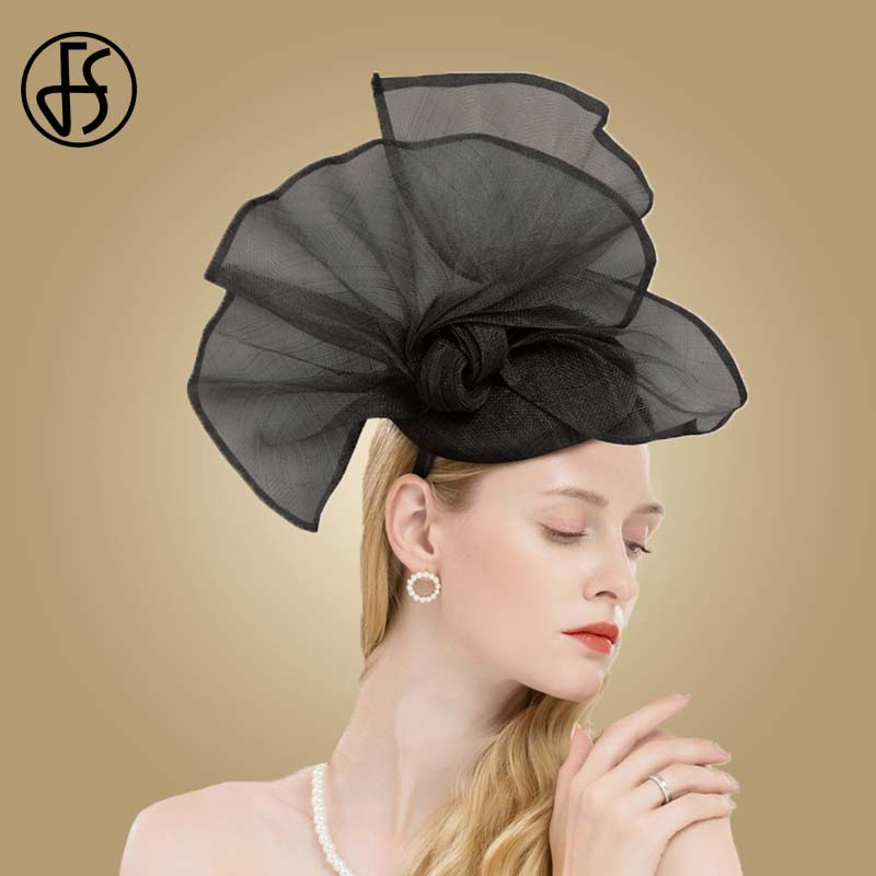 FS Champagne Color Flower Church Hats Women Elegant Sinamay Fascinator Base Ladies Wedding Pillbox Hat Bow Kentucky Derby Fedora