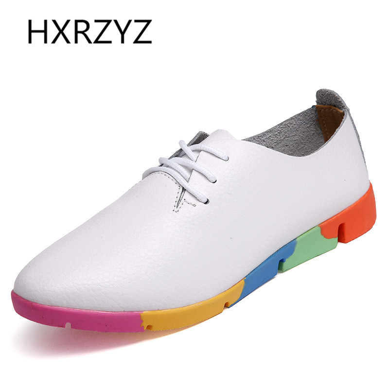 HXRZYZ autumn/spring new fashion leather women flat shoes soft bottom leisure flat colorful shoes woman pointed toe deep mouth zipower pm 4110