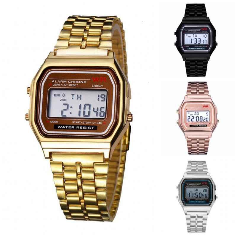ผู้ชายนาฬิกา Vintage นาฬิกาอิเล็กทรอนิกส์สไตล์ดิจิตอลนาฬิกา Retro Gold Silver นาฬิกา Relojes Para Hombres สีดำ Rose Gold