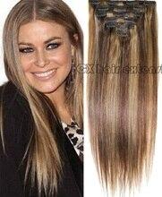 16″-32″  Brazilian Virgin Remy Hair Clips In Human Hair Extensions Full head 7pcs Set 70g 80g 100g 120g 140g #4/27 mixed color