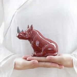 Image 4 - Фарфоровая фигурка носорога, миниатюрная Керамика ручной работы, Фигурка Носорога, Африканские Дикие животные, ремесло, украшение для дома, художественная коллекция