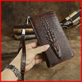 2015 New Arrival Genuine Leather Men Wallet Clutch Men Bag With Coin Bag Deep Coffee Card Purse Cartera Masulina Couro