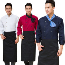 Fashion 3 Pcs/2 Pcs Set Chef Uniforms Long Sleeve Tops Food Services Cooking Double/Single Breasted Clothing Suit FS99