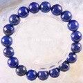 "Free Shipping Stretch 10mm Round Beads Natural Stone Blue Lapis Bracelet 8"" 1Pcs LH1725"
