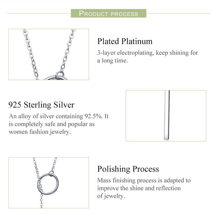 BAMOER Genuine 925 Sterling Silver Round Circle Line Geometric Pendant Necklaces for Women Sterling Silver Jewelry SCN304