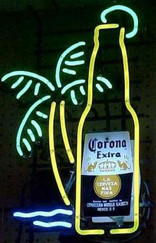 Corona bottle Palm Tree Glass Neon Light Sign Beer Bar