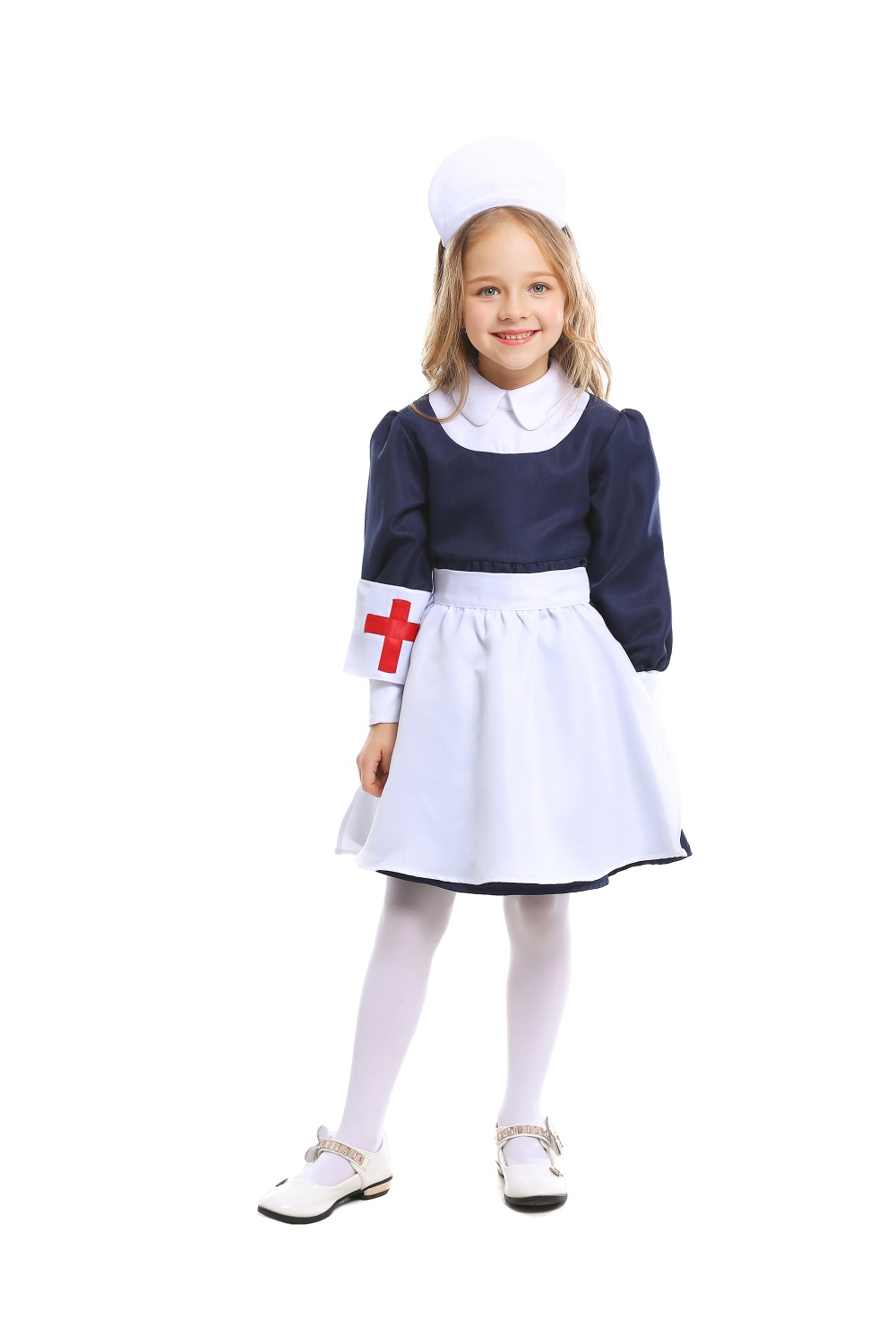 Kids Doctor Cosplay Costumes Baby Girls Nurse Uniforms Role Play Halloween Party Wear Fancy 4 PCs Girls Cosplay Doctor Jacket