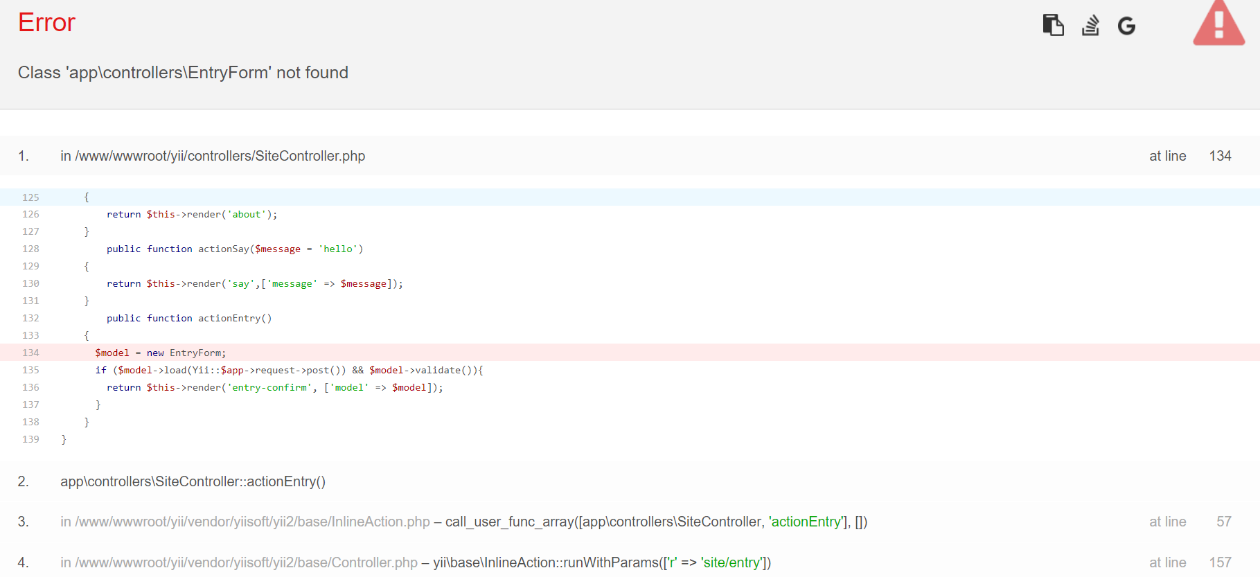 yii\base\ErrorException - Class 'app\controllers\EntryForm' not found