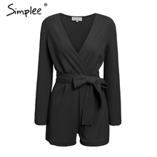 Simplee Vintage long sleeve romper Summer spring sashes red overall jumpsuits 2019 Office ladies casual solid female jumpsuits