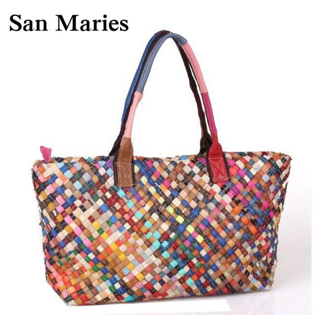 03ee691796eb5 Neue Mode Frauen Reisetaschen Weave Tote Einkaufs Beach Bag Geldbörse Und  Handtasche