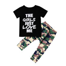 Newest Toddler Kids Boys Summer Tops T-shirt Camo Pants Outfits Set Clothes 1-6T