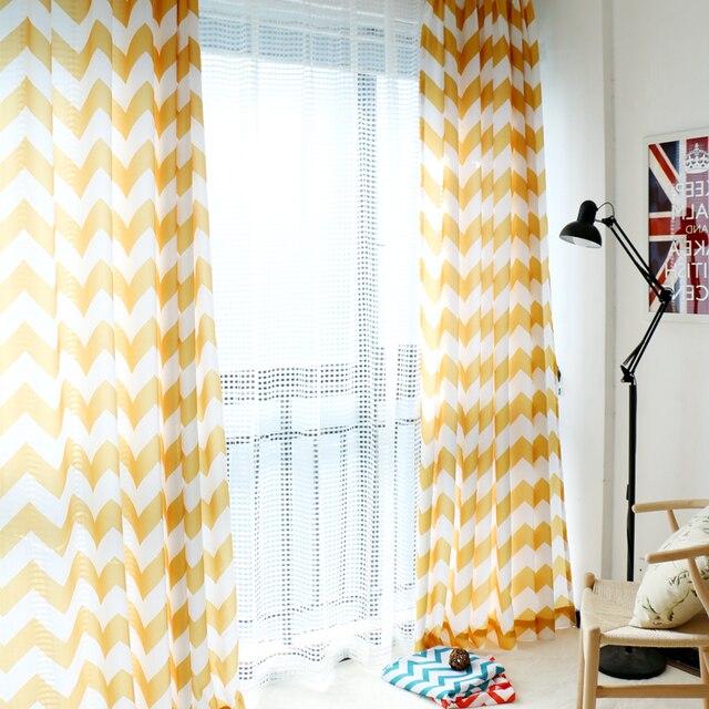 Nordic eenvoudige moderne brede golf gestreepte gordijnen afgewerkt ...