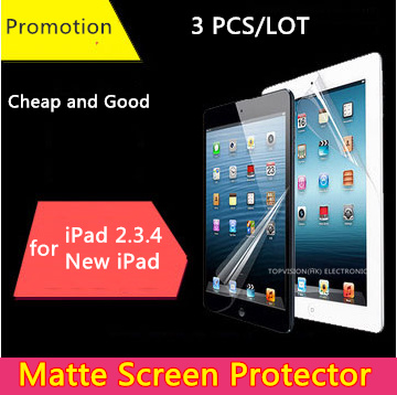 3PCS/Pack cheap good front matte protetive film for apple ipad 2 3 4 screen protector anti glare carton pack & can check ship