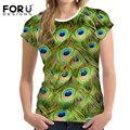 FORUDESIGNS Women T Shirts 3D Peacock Toucan Bird Printed T shirt Short Sleeve Fashion lady Slim Hipster Pretty Soft Tops/tees