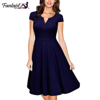 Fantaist Women Dress 50S Vestidos Vintage Short Sleeve Casual Office Working A Line Formal Wedding Party