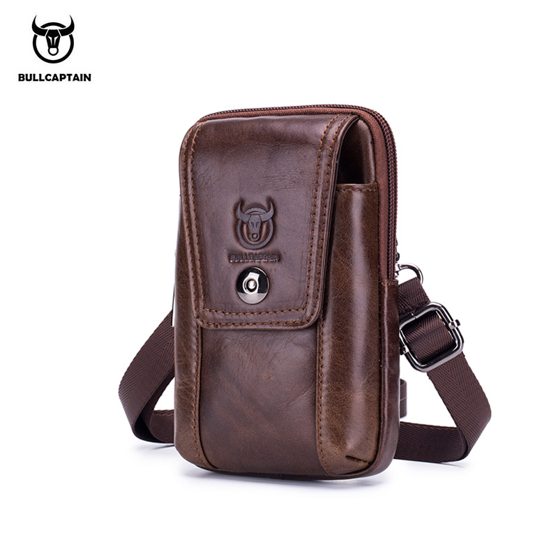 BULLCAPTAIN2019 100% Leather Purse Strap Pockets Mobile Phone Bag Travel Pockets Men's Small Waist Bag Fashion Casual Bag Men's