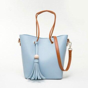 Sets Handbag Blue Black Women Composite Female Large Capcity Totes Fashion Shoulder Crossbody Bag Small Purse Messager