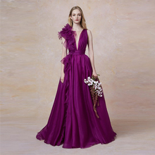 Verngo Purple Evening Dress In Organza Fashion Gown V-Neck Formal Long Custom Made Party Robe De Soiree