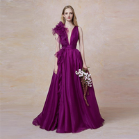 Verngo Purple Evening Dress In Organza Fashion Evening Gown V Neck Formal Dress Long Custom Made Dress Party Robe De Soiree