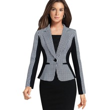 Womens Elegant Formal Long Sleeve Single Button Houndstooth Wear to Work Business Office Slim Suit Blazer Coat Outwear