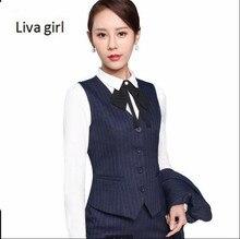 2018 Spring Business formal female stripe vest skirt suits fashion slim office ladies plus size work wear vests suits
