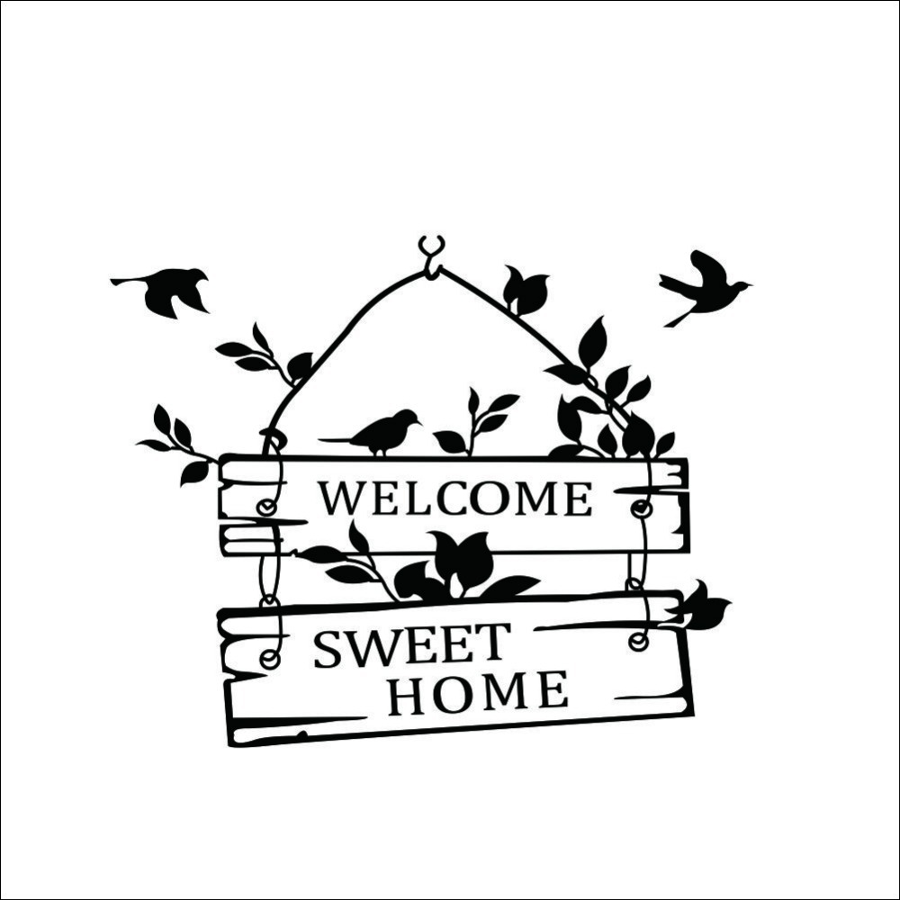 Welcome Sweet Home Door Sign Decoration Wall Decals ZYVA 8253 NA Decorative  Vinyl Wall Stickers For Home In Wall Stickers From Home U0026 Garden On ...