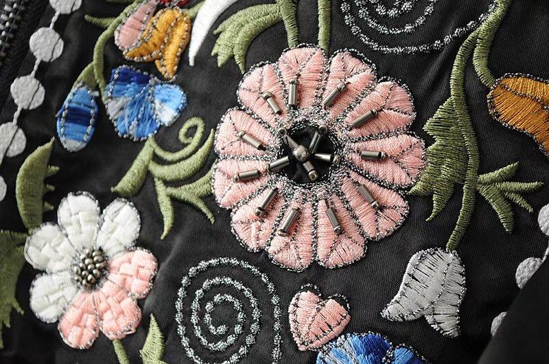 Stand Printemps Black Longues Survêtement Col Manteaux Perle Fleur Femmes Manches Cardigan Vestes Rétro Ruches Tops Broderie À Vintage Automne P4fPwnUS