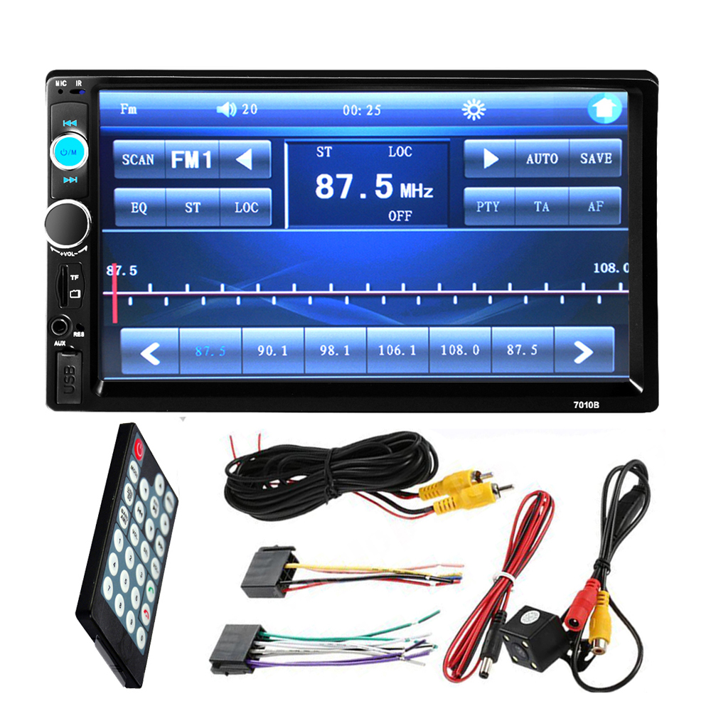 7 Inch LCD 2 DIN HD Car Radio MP5 Player In-Dash Touch Screen Bluetooth HD Rear View Camera Car Stereo FM + Wireless Remote New 7 inch hd bluetooth auto car stereo radio in dash touchscreen 2 din usb aux fm mp5 player night vision camera remote control