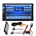 """7 """"polegadas LCD 2 DIN Rádio Do Carro HD MP5 Player In Dash-tela de Toque FM Estéreo Bluetooth tela HD Carro Câmera de Visão Traseira Sem Fio + remoto"""