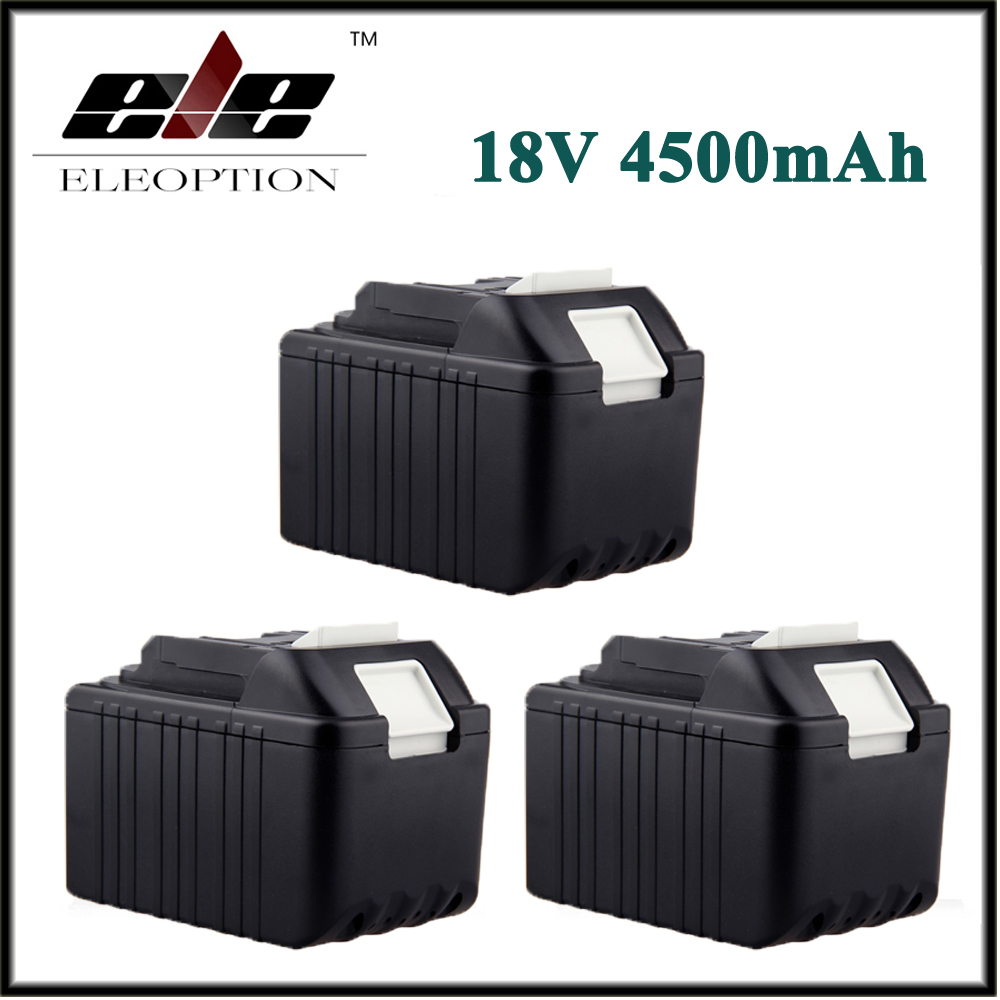ELEOPTION 3PCS 4500mAh Rechargeable Li-ion Replacement Power Tool Battery for Makita 18V BL1830 BL1840 LXT400 BL1815 194230-4 cm 052535 3 7v 400 mah для видеорегистратора купить