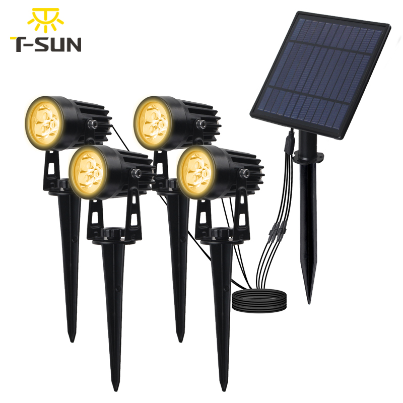T-SUNRISE lampe de jardin solaire LED IP65 lampe solaire étanche à l'extérieur lampe de paysage pour pelouse de jardin en plein air