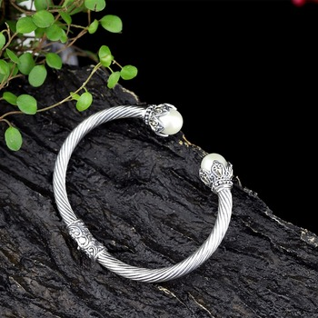 Hot Sale National Style Pearl Bracelet Thai Silver Bangle S925 Pure Silver Bracelet Classic Silver Beautiful Bracelets