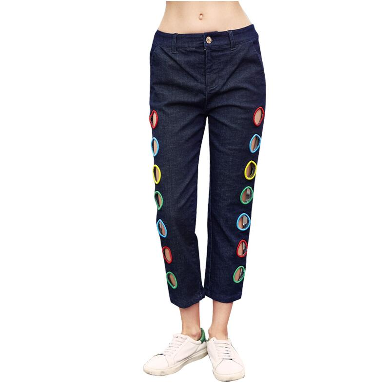Biutefou brand summer women 2017 new Hollow out embroidery straight jeans fashion Hole Denim pants high quality colorful brand large size jeans xl 5xl 2017 spring and summer new hole jeans nine pants high waist was thin slim pants