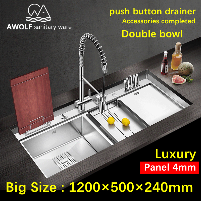 Luxury Kitchen Sinks Double Bowl Panel 4mm 304 Stainless Steel Large SizeThickening Sink Durable Above Counter Undermount AC911