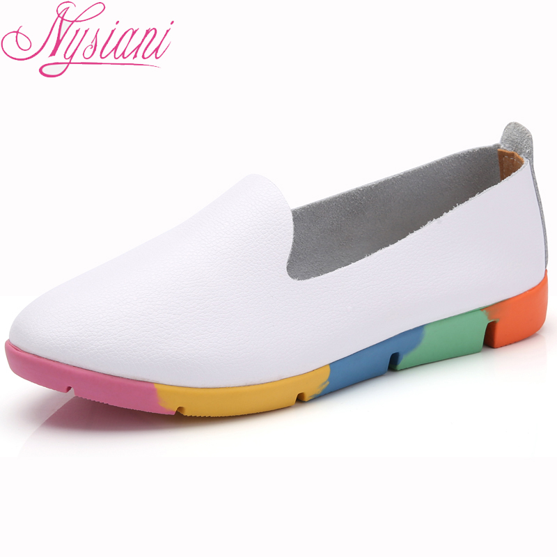 2018 Split Leather Women Loafers Shoes Pointed Toe Autumn Fashion Ladies Mocassins Women Flat Casual Shoes Big size 44 Nysiani women ladies flats vintage pu leather loafers pointed toe silver metal design