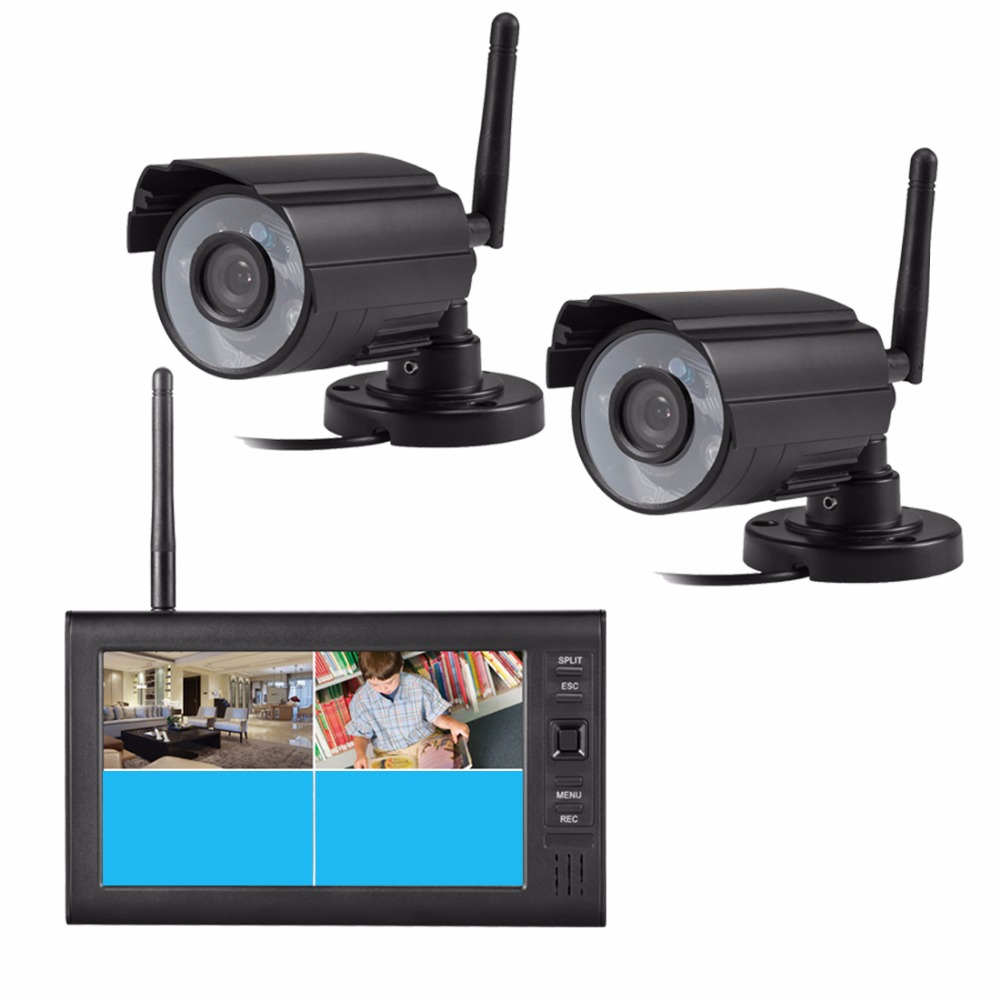 7 LCD 4CH Wireless CCTV Camera DVR Digital Video Shop/Home Security System Outdoor Surveillance System 2.4G Wireless