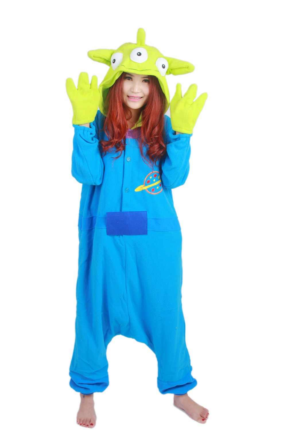 68cf6329a Little Green Man Squeeze Toy Story Aliens Monster Onesie All In One Cosplay  Costumes Pajamas Women