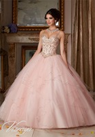 2016 Cheap Hot Pink Blue Quinceanera Dresses Ball Gown Organza Crystals Beaded Ruffles Sweet 16 Dressess Vestido De 15 Anos