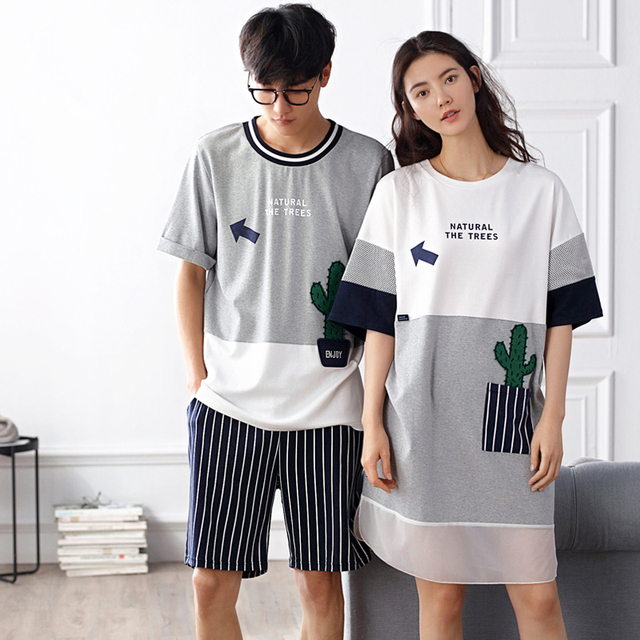 Summer 100% Cotton Lovers Sleepwear Loose Thin Female's Nightgown Short-sleeve Cotton Male's Lounge Pajamas
