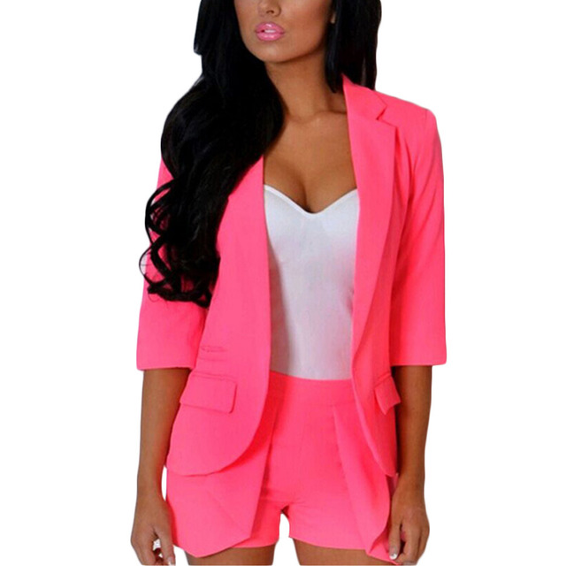 2016 Autumn OL women candy-colored three quarter sleeve bodycon V neck blazers office wear two piece set +shorts work wear