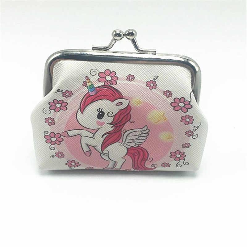 Quente doce meninas mini unicórnio moeda bolsas crianças kawaii dos desenhos animados mudança titular portátil pequeno bonito armazenamento carteiras