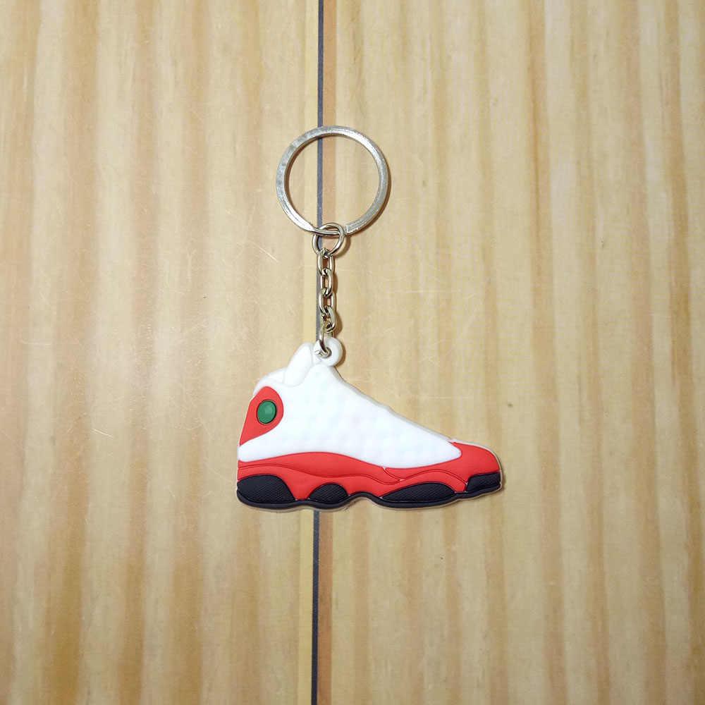 Mini Silicone Sneaker Jordan Sapatos Mulher Homens Suporte Chave Do Carro Chaveiro Chaveiro Bolsa Charme Acessórios Chave Anéis Pingente de Presentes
