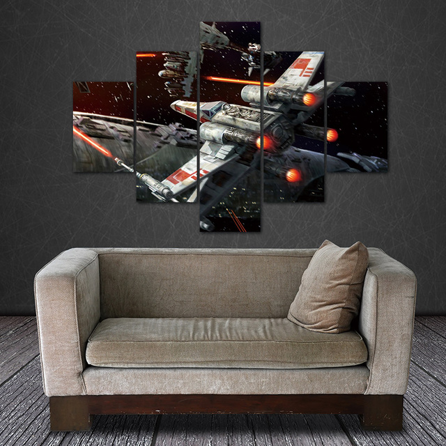 Superbe Canvas 5 Panels Unframed Canvas Photo Prints Star Wars Outer Space Wall  Decorations Office Artwork Giclee