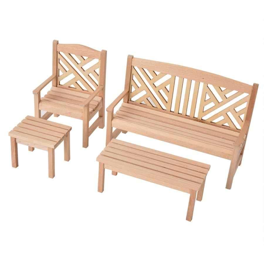 1:12 בקנה מידה מיניאטורות גן כיסא שולחנות רהיטי בובות 4 יח'\סט בובת בית אביזרי לילדים של נפלא מתנה 2