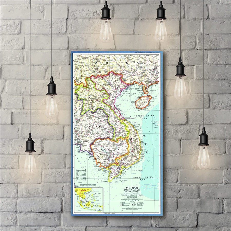 Laos French-Indochina Vietnam Cambodia Wall Map Poster 24Wx30H